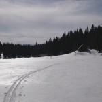 Die Jagdhütte bei der Abfahrt