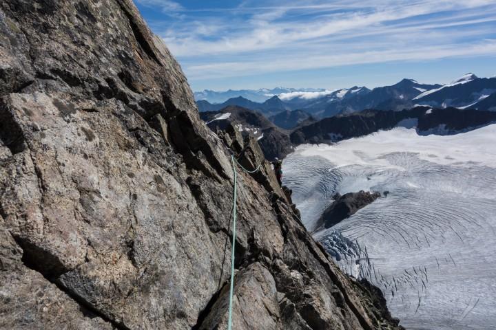 Schöne Klettermeter in Gipfelnähe
